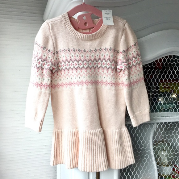 61% off GAP Other - NWT BABY GAP PINK FAIR ISLE SWEATER DRESS 18 ...